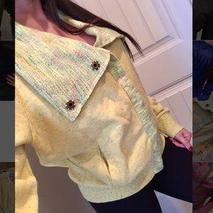 BKE Sweaters - Bke lounge yellow crochet button up sweater Small